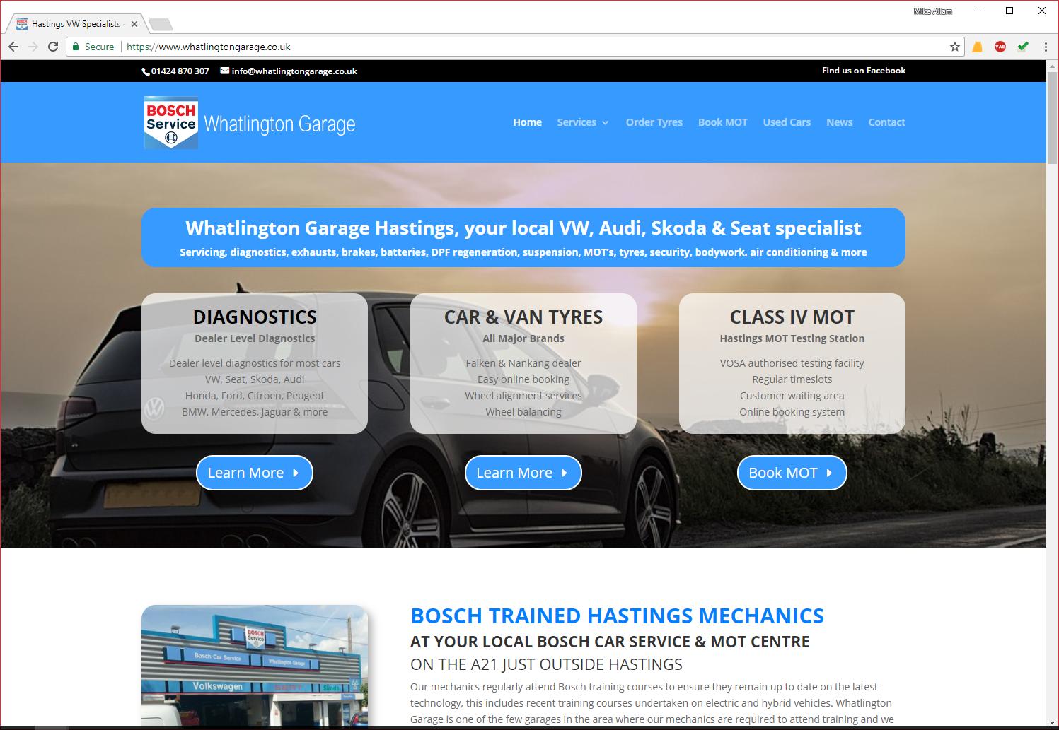 Whatlington Garage Web Design